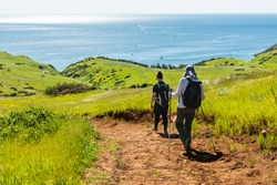 Hikers on Smugglers Road descending to Smugglers Cove on Santa Cruz Island, Channel Islands National Park, California