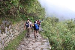 Hikers on the Inca Trail in Peru, approaching Machu Picchu