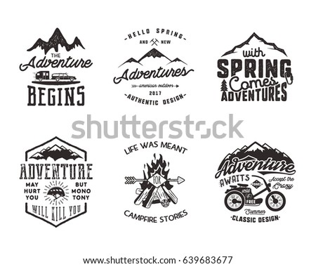 Hiking adventure and outdoor explorer typography labels set. Outdoors activity inspirational quotes. Silhouette hipster logos. Best for t shirts, mugs. patches isolated on white background.