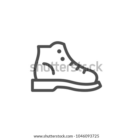 Hiking boot line icon isolated on white