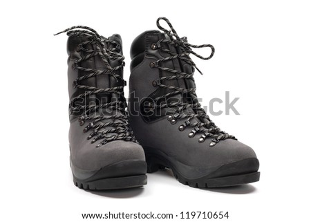 Hiking boots, isolated on white