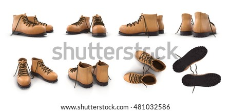 hiking boots isolated on white...