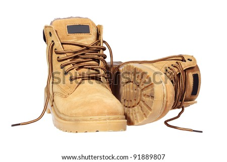 Hiking boots isolated over white with clipping path.