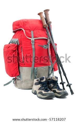 hiking equipment, rucksack and boots