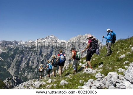 Hiking group on mountain pasture