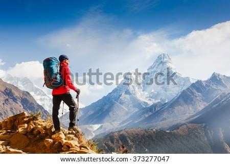 Hiking in Himalaya mountains #373277047