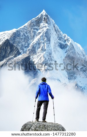 Hiking in himalaya mountains. Travele hiking in the mountains, Nepal. Everest region.