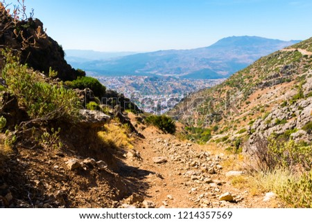 Hiking in Morocco's Rif Mountains under Chefchaouen city, Morocco in Africa Stockfoto ©