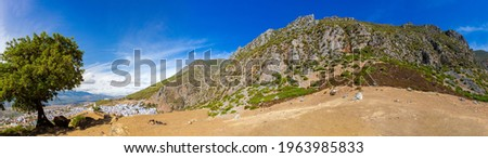 Hiking in Rif mountains near Chefchaouen, Morocco. Mountains panoramic landscape of North Africa. Stockfoto ©