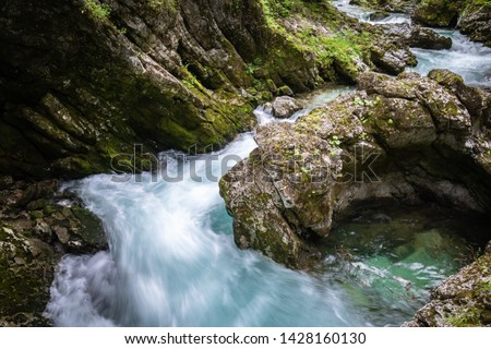 hiking in scenic valley of vintgar gorge in slovenia #1428160130
