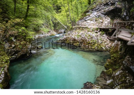 hiking in scenic valley of vintgar gorge in slovenia #1428160136