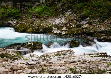 hiking in scenic valley of vintgar gorge in slovenia #1428160274