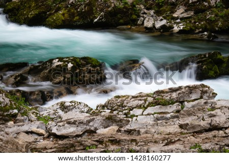 hiking in scenic valley of vintgar gorge in slovenia #1428160277