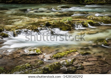 hiking in scenic valley of vintgar gorge in slovenia #1428160292