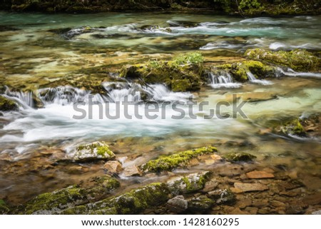 hiking in scenic valley of vintgar gorge in slovenia #1428160295