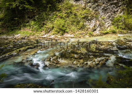 hiking in scenic valley of vintgar gorge in slovenia #1428160301