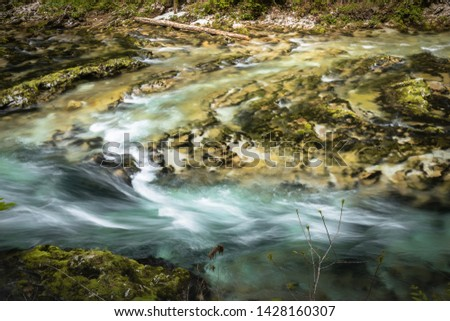 hiking in scenic valley of vintgar gorge in slovenia #1428160307