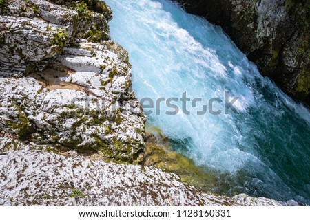 hiking in scenic valley of vintgar gorge in slovenia #1428160331