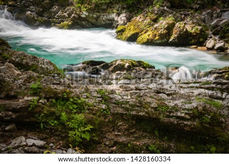 hiking in scenic valley of vintgar gorge in slovenia #1428160334