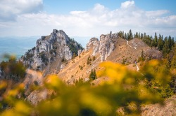 Hiking in slovakia moutains. View from the hills. Ostra, tlsta Peak, Velka Fatra. Slovakia