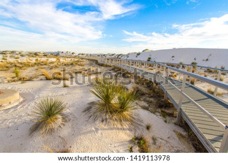 Hiking In The Desert. Boardwalk hiking trail through the White Sands National Monument in New Mexico. The park features massive gypsum sand dunes and a handicapped accessible hiking trail.