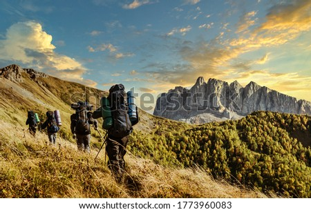 hiking in the mountains in autumn