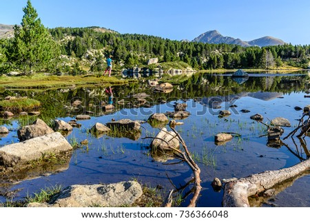 Hiking in the Pyreness Mountains (France, the rout of the Bouillouses Lakes, near the Massif of Carlit) #736366048