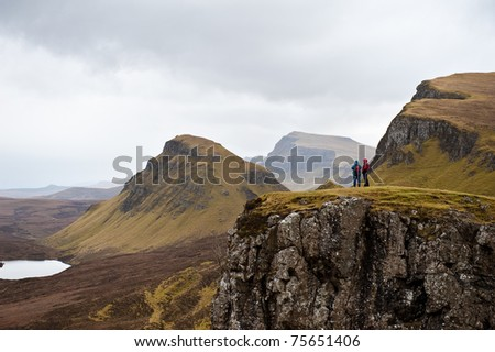 Hiking in the Quairing Mountains on the Isle of Skye in Scotland