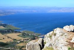 Hiking Jesus trail - beautiful view of Mt. Arbel in countryside of Galilee, Sea of Galilee