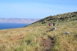 Hiking Jesus trail - beautiful view of Mt. Arbel in countryside of Galilee, Sea of Galilee, Israel
