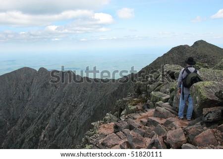 Hiking Knife Edge Ridge Trail, Mt. Katahdin, Baxter State Park, Maine ...