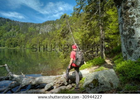 hiking man in Black Forest at Feldsee, Germany