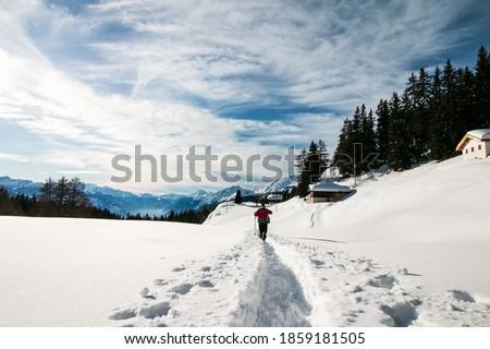 Hiking on winter in Crans-Montana, Switzerland Photo stock ©