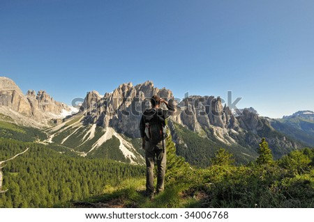 Hiking path at the foot of the Rosengarten, Dolomites, Alps, Italy