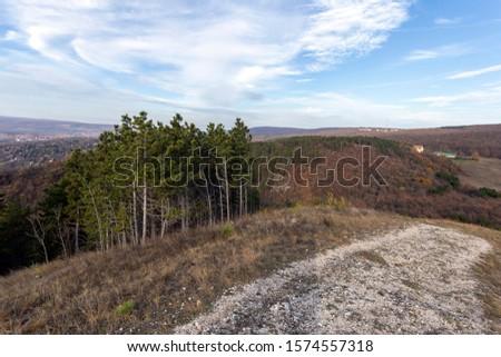 Hiking path in the Buda mountains (Farkas-hegy) near Budaörs, Hungary on a sunny autumn day. Stock fotó ©