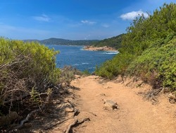 Hiking path next to the sea in Ramatuelle in Provence.