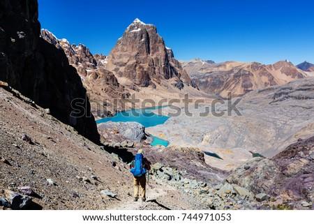 Hiking scene in Cordillera mountains, Peru #744971053