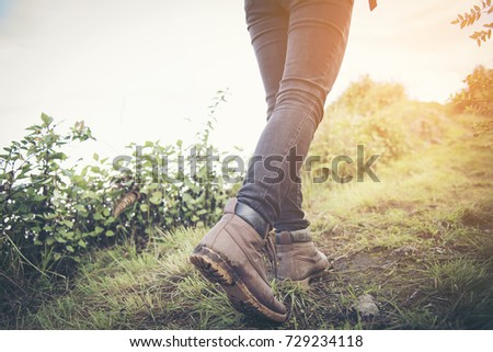 hiking shoes in action on a...