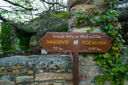 Hiking sign (EN: Great route of Coa Valley and Coa Gorge) Middle Côa Valley in Portugal in Europe