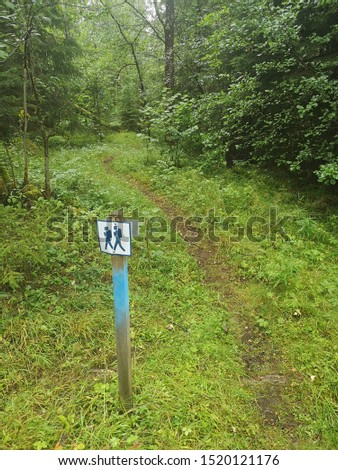 hiking sign path finder at a pathway  in nature  #1520121176