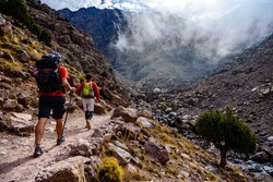 Hiking to the summit of Jebel Toubkal, highest mountain of Morocco.