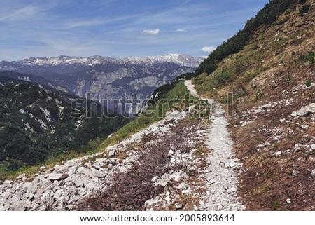 Hiking to Vogel mountain by the Bohinj lake with views of Triglav national park, Slovenia Stockfoto ©