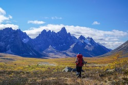 Hiking Tombstone Territorial Park. Fall landscape shot backpacking in the Yukon, Canada.