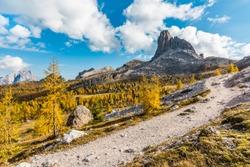 Hiking trail in Dolomites - Croda da Lago, view of Becco di Mezzodi (IT)