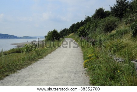 Hiking trail on Spectacle Island in the Boston Harbor Island chain