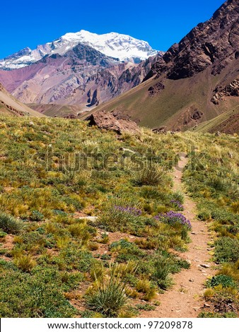 Hiking trail with Aconcagua in the background, Argentina, South America
