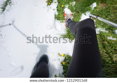 Hiking / Trekking. Legs and trekking poles in deep snow and green grass #1212901168
