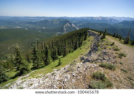 Hiking up Prairie Mountain, Near Bragg Creek, About 35 Miles at 250 degrees from Down Town Calgary, Alberta, Canada - stock photo