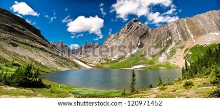 Hiking views Kananaskis Lakes area Peter Lougheed Provincial Park - Maude Lake and Beatty Glacier