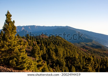 Hiking with the sunlights in the morning in Cumbre Vieja volcano.  Foto stock ©